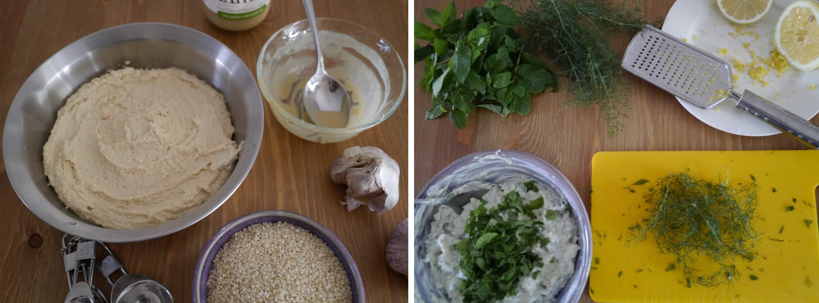 Homemade hummus and tzatziki
