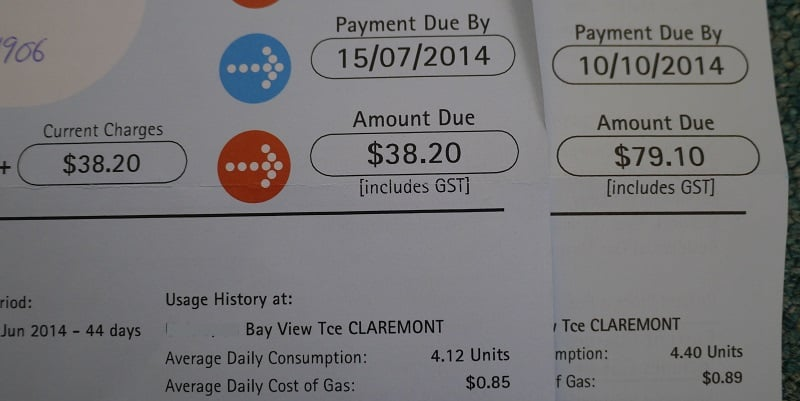 Gas bills for new flat