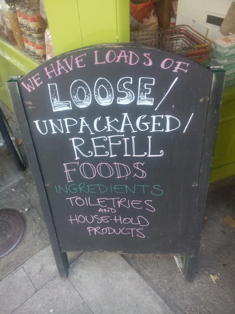 Unpackaged refill bulk store sign