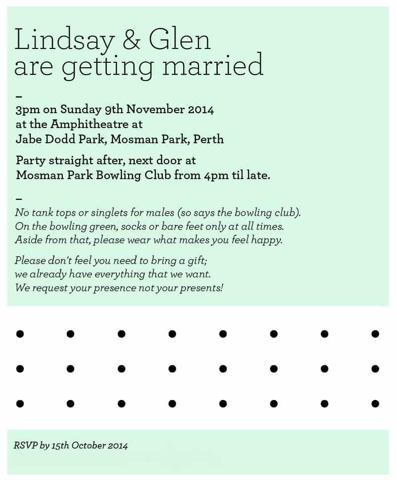 Lindsay + Glen Wedding Invite