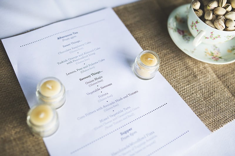 Wedding reception menu, beeswax candles and plastic-free snacks