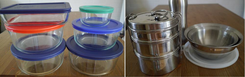 Reusable containers. The glass is heatproof so can double as oven dishes too : )