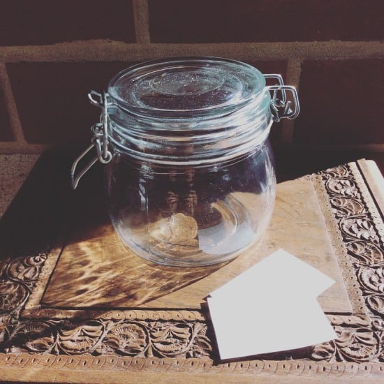 After some initial reluctance, my waste now goes in a jar. Can you believe it, the very day after I began I had something to go in it?! Not the best start!