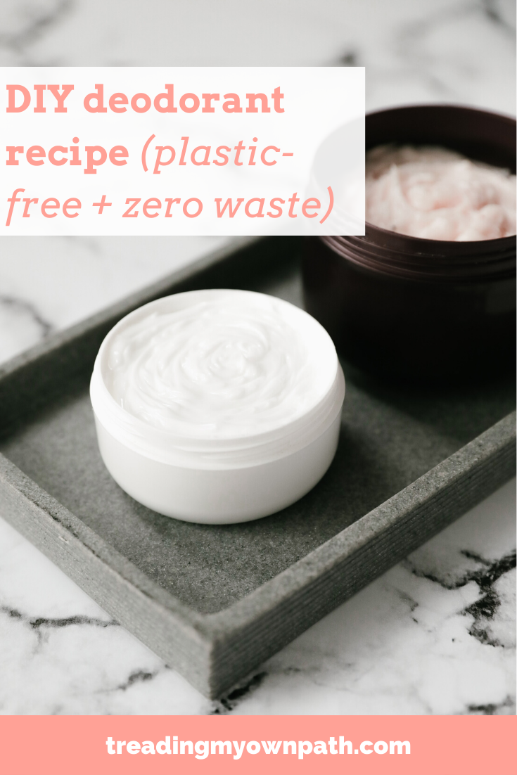 DIY deodorant recipe (zero waste + plastic-free) from Treading My Own Path | Less waste, less stuff, sustainable living. DIY skincare, DIY skincare recipe, how to make deodorant, plastic-free bathroom routine, zero waste personal care, low tox living, green bathroom, green beauty products, eco friendly swaps, low waste bathroom. More at https://treadingmyownpath.com