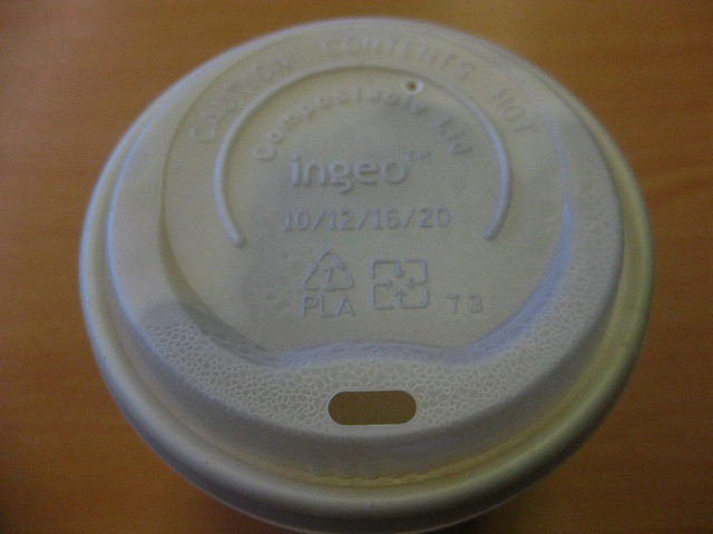 Photo credit: Fiona Moore via Flickr. A PLA 'Ingeo' bioplastic lid. Plastic type #7 (or 'other') is not recyclable.