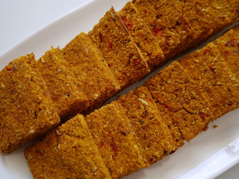 carrot pulp crackers on a plate