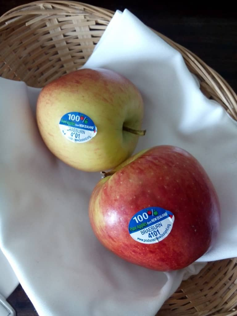Apples from NZ in our hotel during British summer