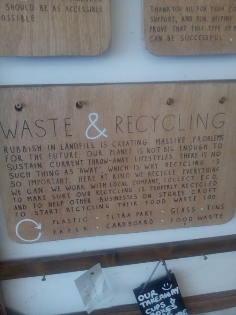 Cafe Kino Waste and Recycling
