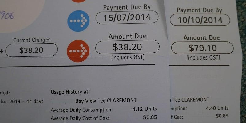 Gas bills for new flat