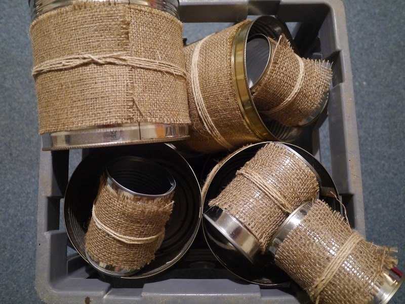 upcycled tin cans with hessian