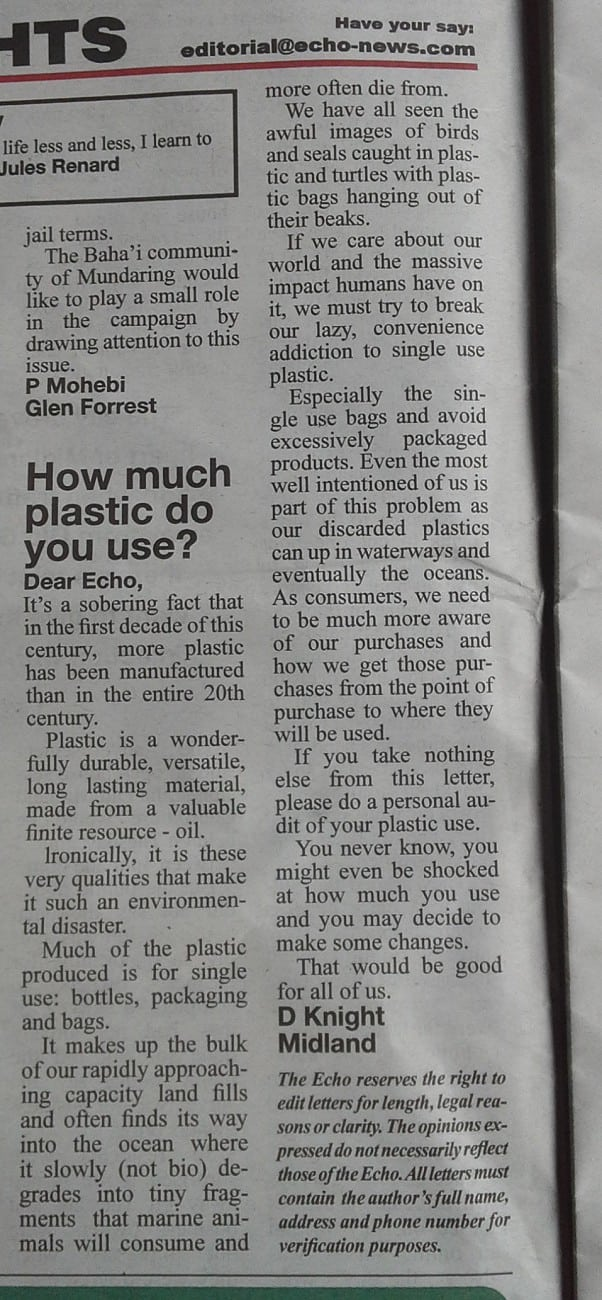 Dave Knight Letter to Echo Plastic