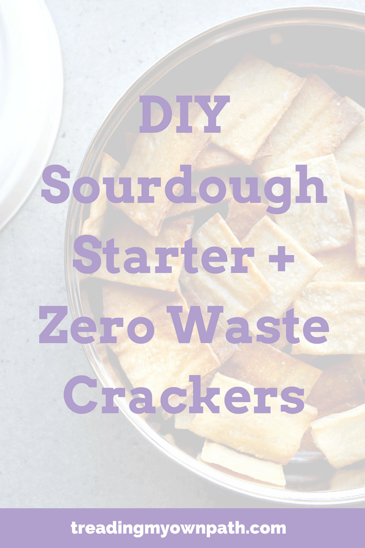 DIY Sourdough Starter + Zero Waste Crackers | Treading My Own Path | Zero Waste + Plastic-Free Living. Less waste, less stuff, less plastic, sustainable living. How to make a sourdough starter, sourdough cracker recipe, less waste no fuss kitchen, zero waste crackers, plastic-free cracker recipe, how to make crackers without plastic, plant-based zero waste recipe ideas, zero waste kitchen, less plastic in the kitchen, make crackers. Love food hate waste. More at https://treadingmyownpath.com