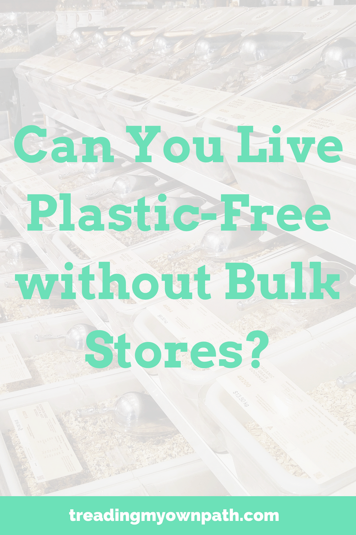 Can You Live Plastic-Free without Bulk Stores? from Treading My Own Path | Zero Waste + Plastic-Free Living | Less waste, less stuff, sustainable living. Bulk shopping, shopping without plastic, zero waste kitchen, less waste kitchen, low waste kitchen, grocery shopping without plastic, eco-friendly choices, sustainableish, green living, zero waste lifestyle, ho to live with less waste. More at https://treadingmyownpath.com