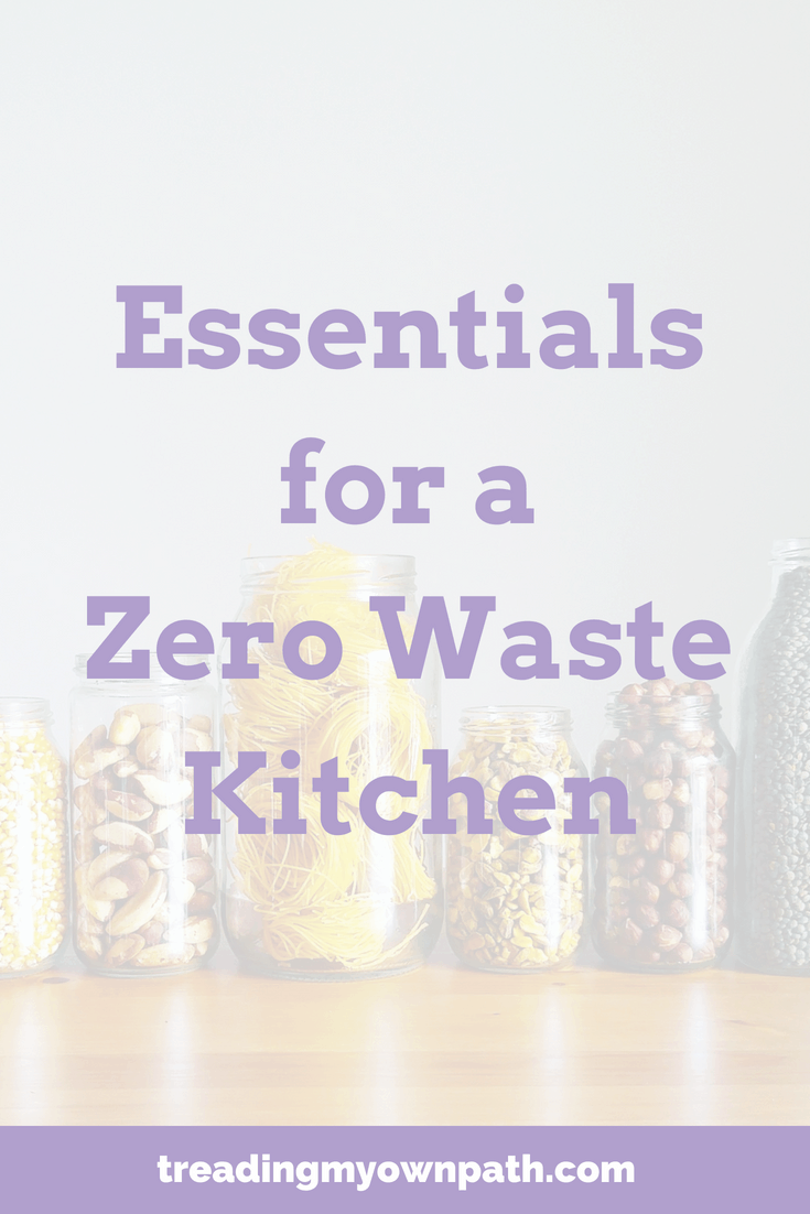 Essentials for a Zero Waste Kitchen | Treading My Own Path | Zero Waste + Plastic-Free Living. Plastic-free kitchen, reducing waste in the kitchen, use less plastic, break free from plastic, how to go plastic-free, choose reusables, green living, eco living, zero waste pantry organisation, zero waste food prep. More from https://treadingmyownpath.com