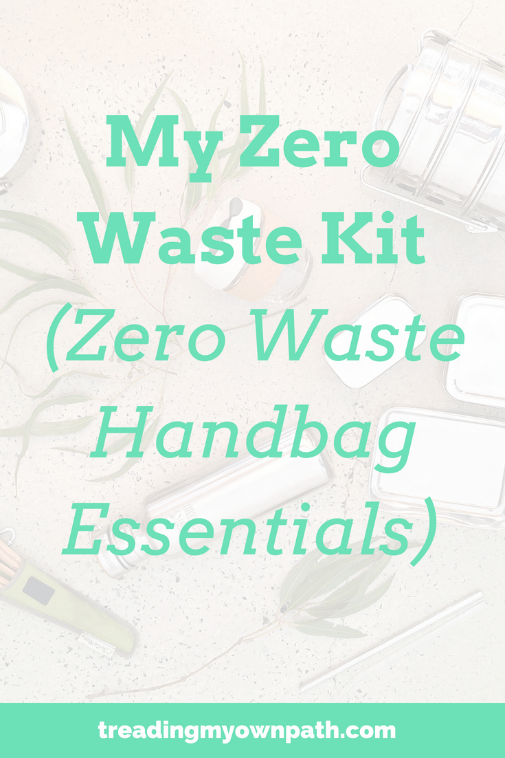 My Zero Waste Kit: my zero waste handbag essentials. I carry a small number of reusables that allow me to refuse single use plastic and avoid packaging. Reliable reusables are an essential for plastic free living and zero watse living, and these sustainable swaps and eco friendly alternatives are how I reduce trash and waste less. More at https://treadingmyownpath.com