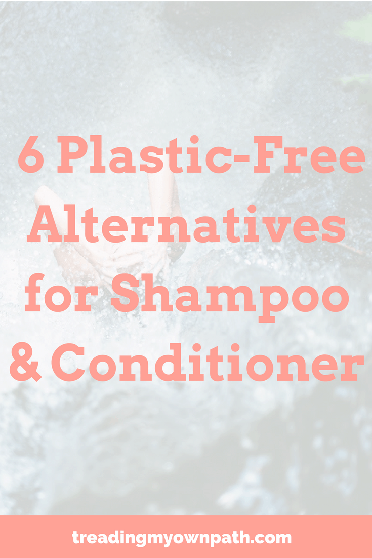 6 Plastic-Free Alternatives for Shampoo + Conditioner from Treading My Own Path | Zero Waste + Plastic-Free Want to avoid single-use plastic containers? Here\'s 6 low waste bathroom options for hair washing. Both zero waste haircare and low waste hair washing options, from no poo to compostable packaging to bulk shopping beauty options to refillable reusable containers. Eco friendly, sustainable solutions. Pass on plastic, refuse single use and choose better! More at https://treadingmyownpath.com