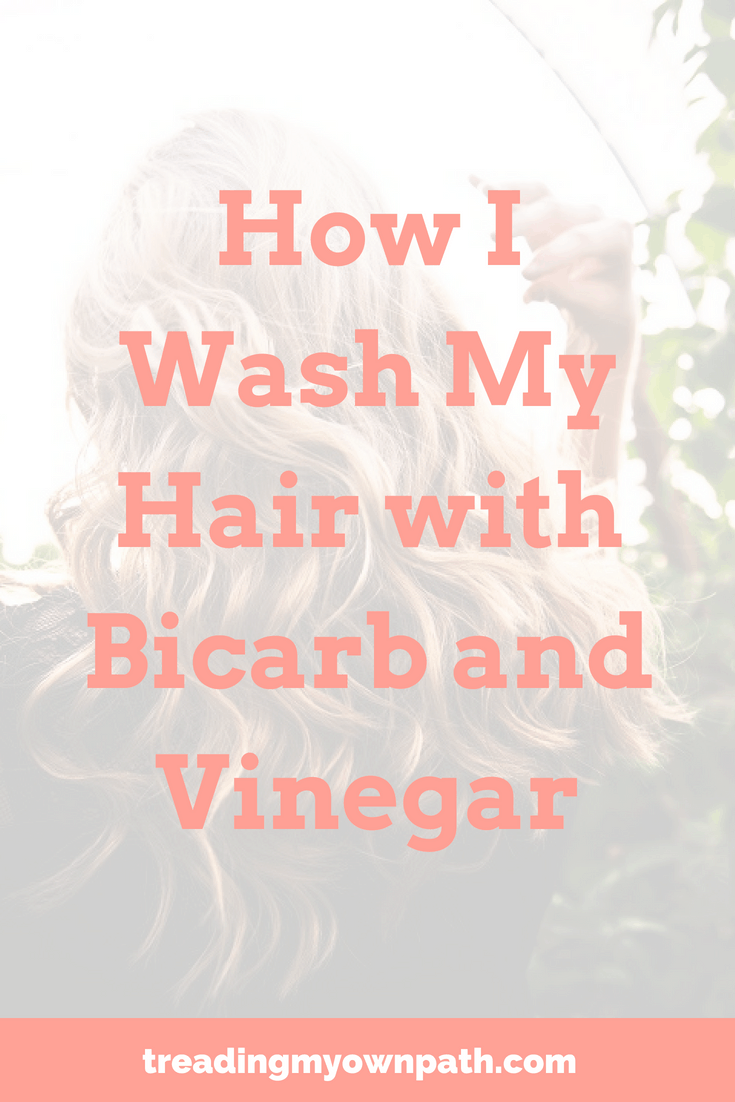 How I Wash My Hair with Bicarb and Vinegar: zero waste and plastic-free living by Treading My Own Path. No poo hair washing, eco friendly shampoo, green living bathroom ideas, rye flour hair washing, vinegar rinse, reduce single-use plastic in the bathroom, low tox living, low tox bathroom, eco living ideas, hair washing without plastic. Reduce packaging, low waste ideas. More at https://treadingmyownpath.com