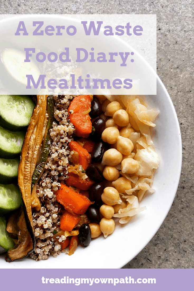 A Zero Waste Food Diary: Mealtimes | Treading My Own Path | Zero Waste + Plastic-Free Living. Zero waste meal ideas, plastic-free cooking, plastic-free meals, low waste kitchen, zero waste chef, zero waste cooking, how to cook with bulk ingredients, plant-based zero waste, low waste food idea,s zero waste cooking tips.  Love food hate waste. More at https://treadingmyownpath.com