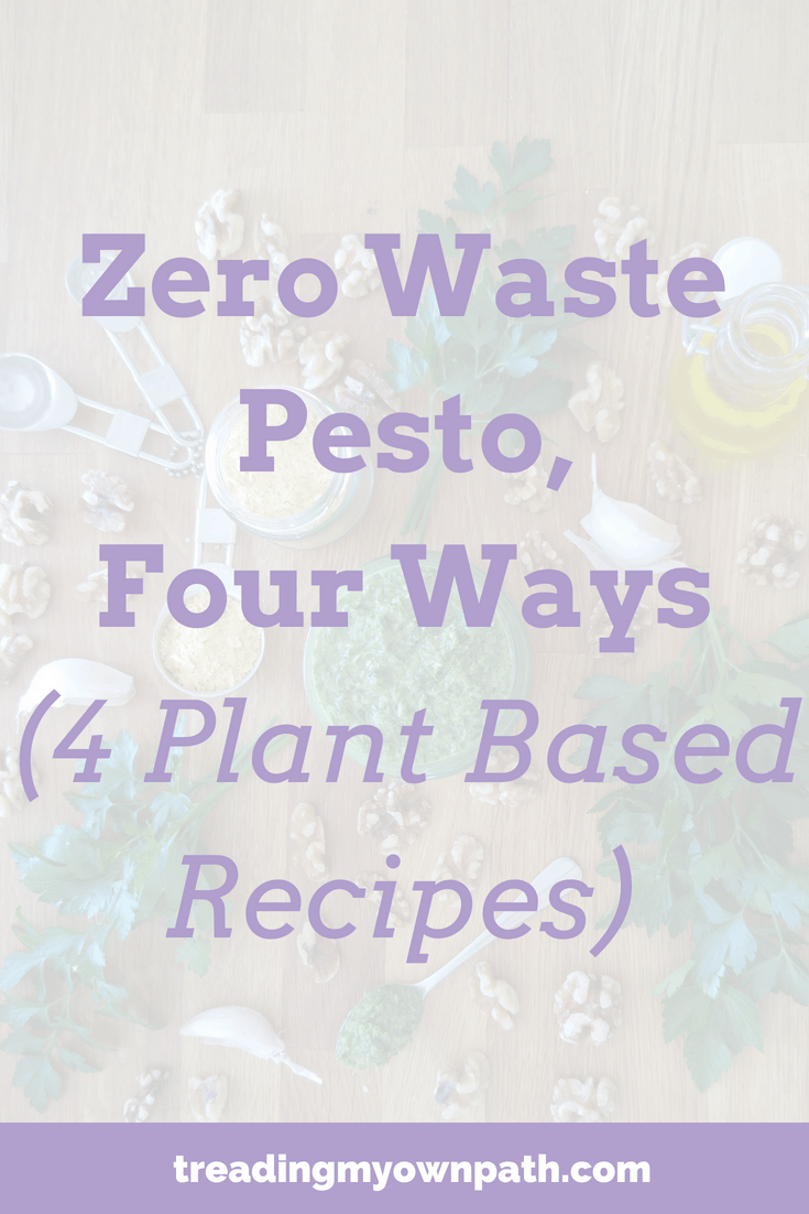 Zero Waste Pesto, 4 Ways (Plant Based Recipes) | Treading My Own Path | Zero Waste + Plastic-Free Living. Vegan basil pesto recipe, plant-based basil pesto recipe, basil pesto with avocado, walnut parsley pesto recipe, coriander cashew nut pesto recipe, carrot top pesto recipe, making pesto with carrot tops, pesto recipe ideas, vegan pesto. More at https://treadingmyownpath.com