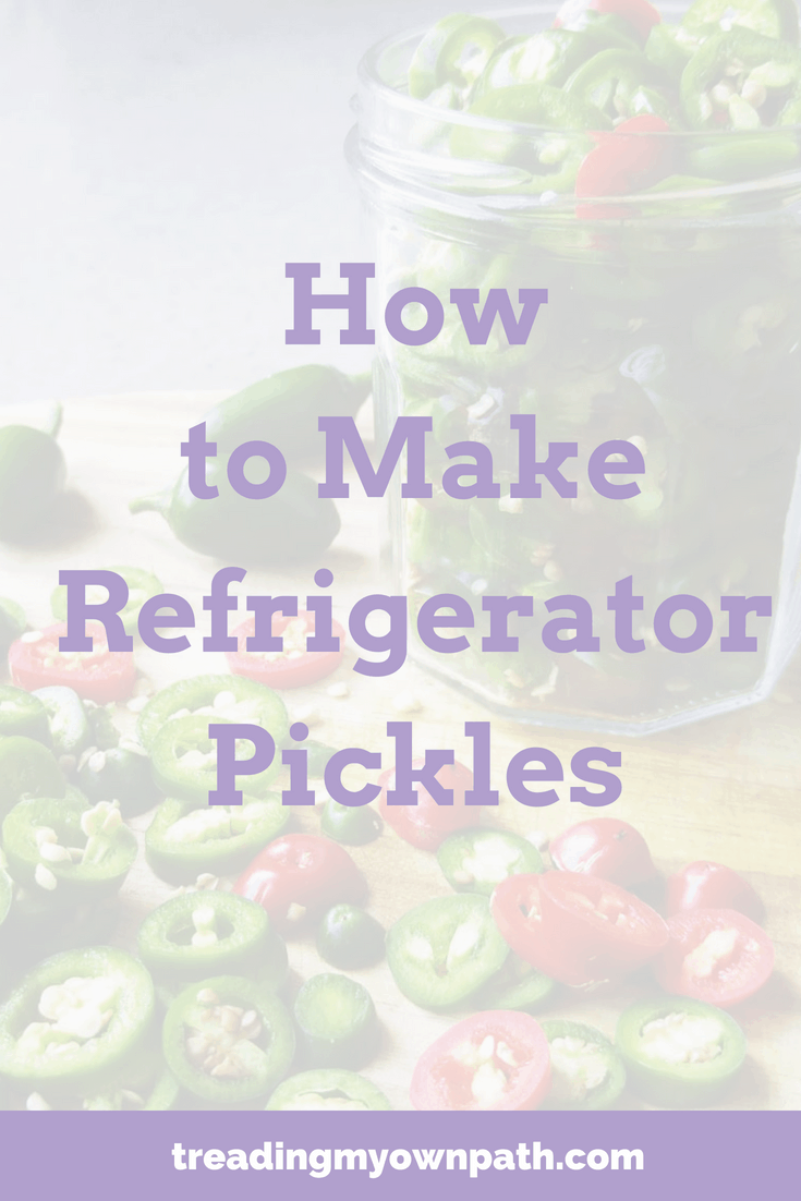 Zero waste and plastic-free living / Fight Food Waste: How to Make Refrigerator Pickles / How to Make Bread and Butter Pickles. Pickled chillis. Cucumber pickle recipe, pickled jalapenos recipe, use up leftovers, love food hate waste. Food preserving, food preservation, fridge pickles, 5 minute recipe. More at https://treadingmyownpath.com