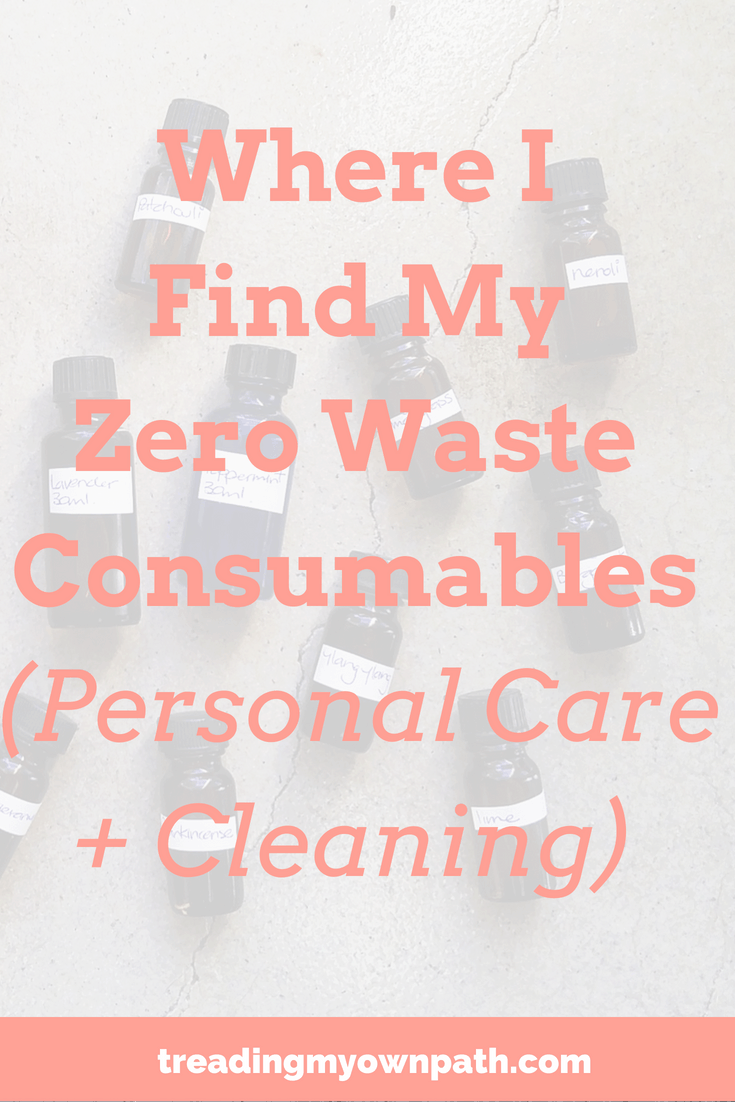 Where I Find My Zero Waste Consumables (Personal Care and Cleaning) by Treading My Own Path | Zero Waste + Plastic-Free Living. Zero waste swaps, how to find plastic-free bathroom products, green cleaning, eco friendly swaps for the bathroom, eco friendly personal care, sustainability, sustainable living, reduce waste, refuse single use, reduce plastic, living with less waste, avoid single-use products, break free from plastic. More at https://treadingmyownpath.com