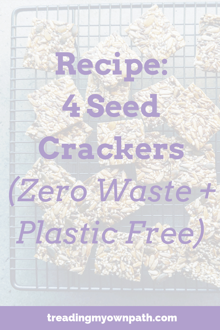 Seed Crackers recipe from Treading My Own Path | Zero Waste + Plastic-Free Living | Less waste, less stuff, real food, sustainable living, Zero waste crackers recipe, plastic-free crackers recipe, 5 seed crackers, plant-based crackers, plant-based snack ideas, simple crackers DIY. Recipe at https://treadingmyownpath.com