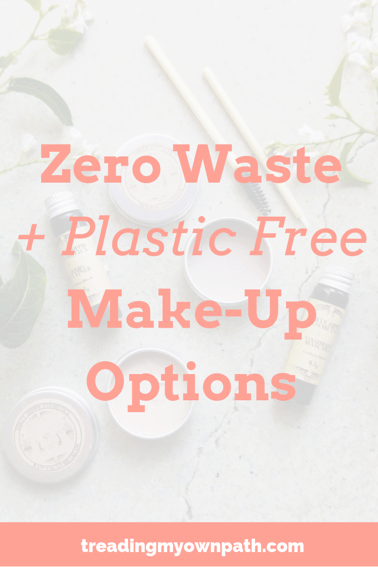Zero Waste and Plastic-Free Make-Up Options by Treading My Own Path - Zero Waste and Plastic Free Living. Plastic-free makeup, compostable packaging, zero waste beauty, cruelty free, vegan make-up, eco friendly choices, green living, sustainability, go green, reduce waste, less plastic in the bathroom. More at https://treadingmyownpath.com