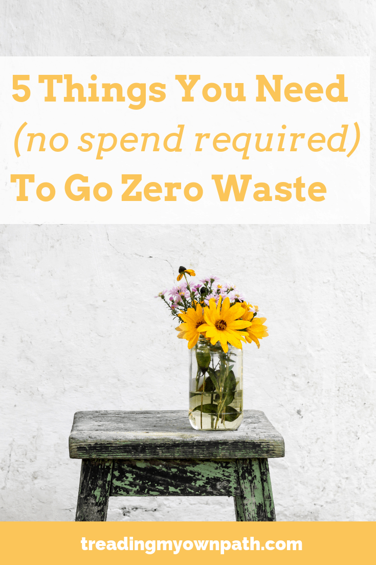5 Things You Need (No Purchase Required) To Go Zero Waste by Treading My Own Path |  Zero Waste + Plastic Free Living. Less waste, less stuff, sustainability. Going zero waste on a budget, eco-friendly solutions, thrifty low waste ideas, reduce trash, break free from plastic, avoid single-use, ethical consumer, green living ideas, minimalist living, minimalism, the environmental minimalist. More at https://treadingmyownpath.com