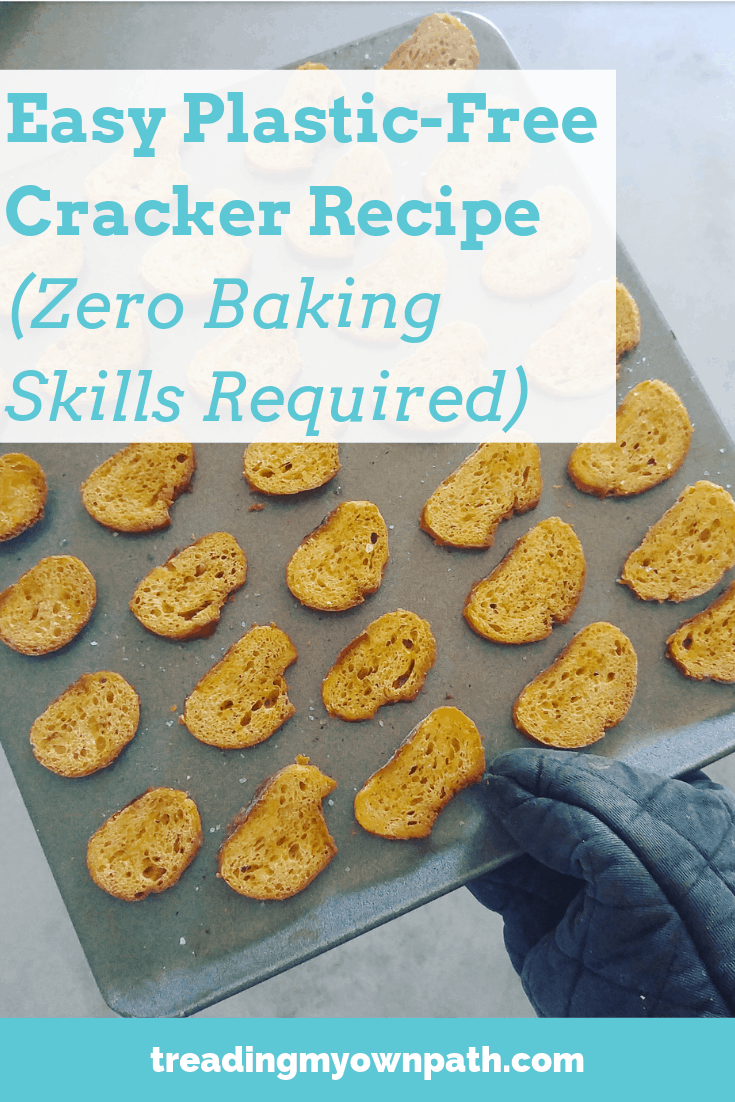 How to Make DIY Crackers, Zero Baking Skills Required from Treading My Own Path | Less waste, less stuff, sustainable living, zero waste kitchen. Plastic-free cracker recipe, how to make crackers, bruschetta, crustini recipe, how to use up an old baguette, French stick crackers, green living, plant-based recipe, eco friendly choices. More at https://treadingmyownpath.com