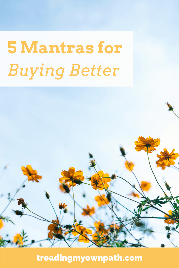 5 Mantras for Buying Better from Treading My Own Path | Zero Waste + Plastic-Free Living | Less waste, less stuff, sustainable living. Eco-friendly choices, simple living, decluttering, slow fashion, 30 wears, minimalism, be more with less, minimalist, reduce waste, eco-thrifty living, reducing waste. More at https://treadingmyownpath.com