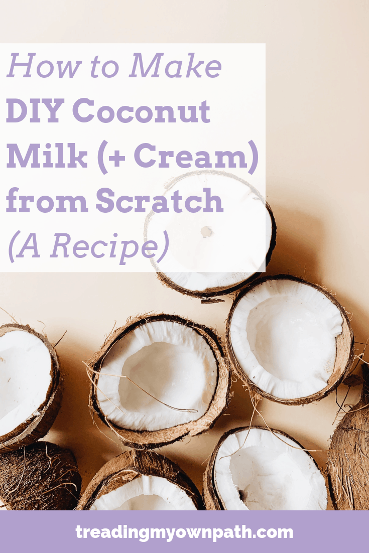How to Make DIY Coconut Milk (and DIY Coconut Cream) from Scratch (A Recipe) by Treading My Own Path | Zero Waste + Plastic-Free | Less waste, less stuff, sustainable living. Zero waste kitchen, less waste kitchen, how to make coconut cream, package-free coconut milk, reduce trash in the kitchen, eco friendly tips, plant based zero waste, less waste more plants, make coconut milk, green living, eco friendly living, war on plastic, love food hate waste. More at https://treadingmyownpath.com
