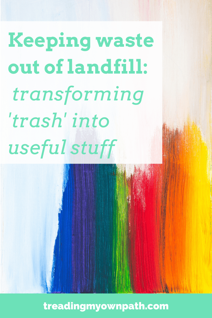 Keeping waste out of landfill: 5 creatives transforming \'trash\' into useful stuff from Treading My Own Path | Zero Waste + Plastic-Free Living | Less waste, less stuff, sustainable living. Upcycling, upcycled fabric, eco-friendly gifts, recycled products, inflatable amnesty, reusing, repair, old bouncy castles, second-hand Etsy, beach art, beach finds, mudlarking art, eco choices,  bicycle inner tubes, zero waste products, creating art from trash. More at https://treadingmyownpath.com