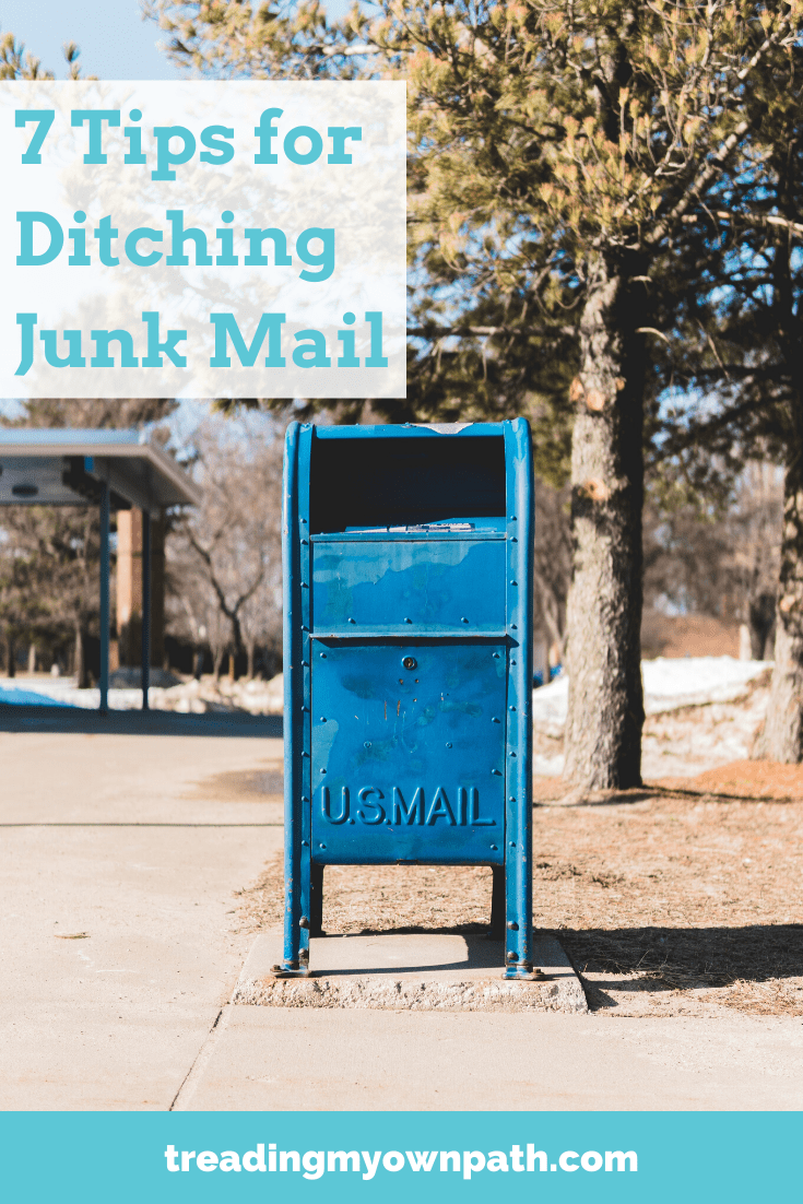 7 Tips for Ditching Junk Mail from Treading My Own Path | Zero Waste + Plastic-Free Living | Less waste, less stuff, sustainable living. Reduce trash, yellow pages, reduce paper waste, how to live with less waste, avoid junk mail, save trees, eco-friendly swaps, easy green actions to take, simple green swaps, zero waste tips, sustainable choices. More at https://treadingmyownpath.com