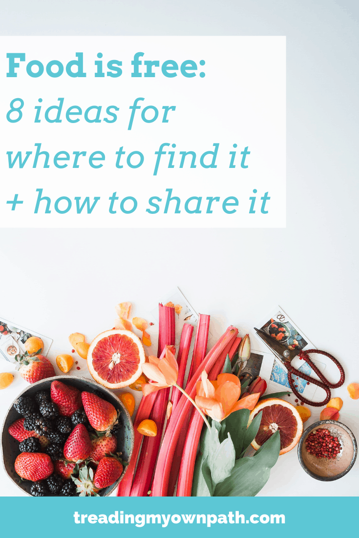 Food is free: 8 ideas for where to find it and how to share it, from Treading My Own Path | zero waste + plastic-free  Less waste, less stuff, sustainable living. Little free pantry, little free pantries, grow free cart, community fridge, freedge, solidarity fridges, Buy Nothing project, ripe near me, fallen fruit, grow swap share, crop swap. Community action, transition town. More at https://treadingmyownpath.com