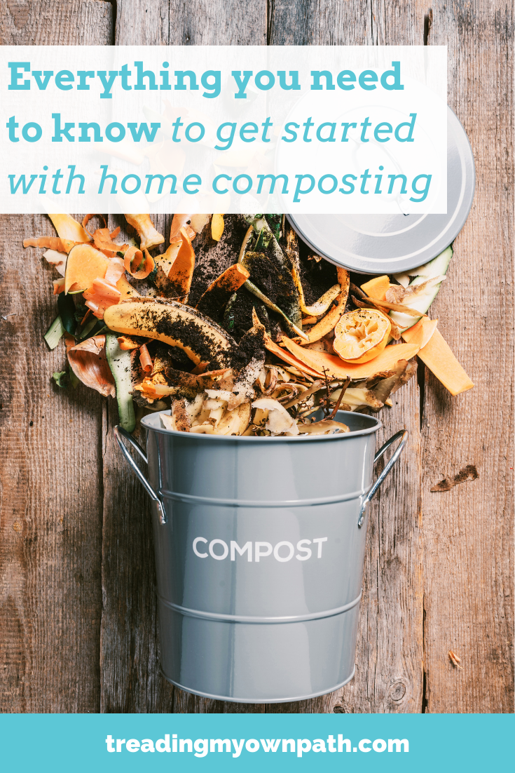 Everything you need to know to get started with home composting, from Treading My Own Path | zero waste + plastic-free living | Less waste, less stuff, sustainable living. Less waste no fuss kitchen, reducing food waste, how to compost, beginner guide to composting, different types of compost bin, what food scraps can I compost, composting tips, compost tips, sustainable living, green living, eco tips, low carbon living, low waste living, compost at home. More at https://treadingmyownpath.com